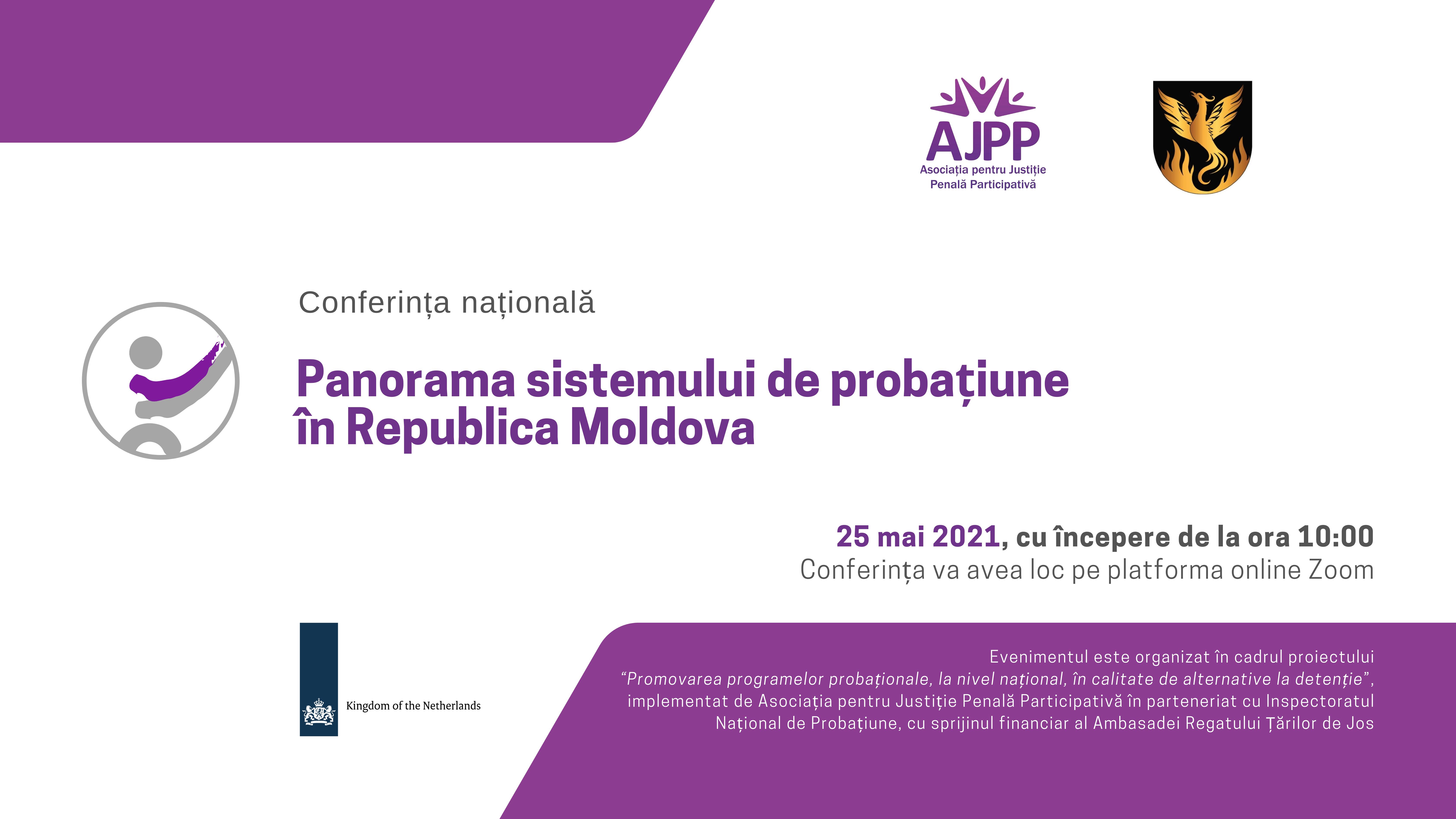 """Anunț! Pe 25 mai 2021 va avea loc Conferința națională """"Panorama sistemului de probațiune în Republica Moldova"""""""